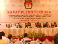 KPU NTB Tetapkan Perolehan Kursi Parpol dan Calon DPRD Terpilih